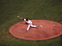 Giants reliever Sergio Romo throws hard from the mound to pitch Royalty Free Stock Photo