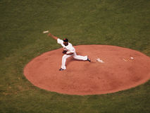 Giants Santiago Casilla throws pitch from mound ball can be seen Royalty Free Stock Photography
