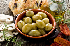 Giants Spanish olives. Rustic appetizer with giants Spanish olives on a bowl Stock Photography