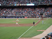 Giants Tim Lincecum steps into a throwing pitch. Dodger vs. Giants: Giants Tim Lincecum steps into a throwing pitch.  Taken from the 3rdbase line on July 30 Royalty Free Stock Photos