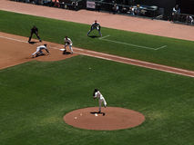 Giants Tim Lincecum throws over to 1st base Royalty Free Stock Images