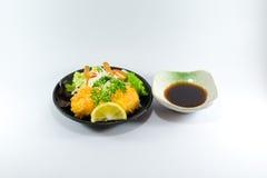 Giapponese Fried Chicken con la salsa di soia su fondo bianco Immagini Stock Libere da Diritti