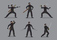 Giapponese Ninja con i caratteri di vettore delle armi royalty illustrazione gratis