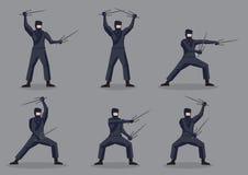 Giapponese Ninja con Sais nel carattere di vettore di azione di arti marziali royalty illustrazione gratis