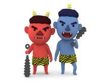 ` Giapponese sveglio di oni del ` del demone, illustrazione 3D, Fotografia Stock Libera da Diritti