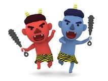 ` Giapponese sveglio di oni del ` del demone, illustrazione 3D, Fotografia Stock