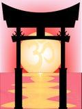 Giapponese Tori Gate Sunset Fotografie Stock Libere da Diritti