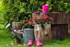 Giardinaggio degli utensili degli strumenti di giardino della primavera Fotografia Stock Libera da Diritti