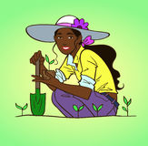 Giardinaggio della giovane donna illustrazione vettoriale