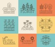 Giardinaggio e logos floristry Fotografia Stock Libera da Diritti