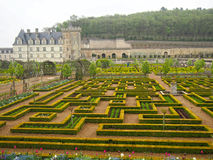 Giardini convenzionali al castello di Villandry nel Loire Valley della Francia Fotografia Stock Libera da Diritti