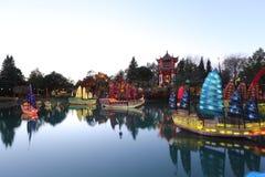 Giardini del giardino di Luminoso cinese Immagini Stock