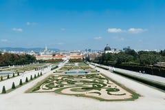 Giardini del palazzo di belvedere a Vienna Fotografia Stock Libera da Diritti