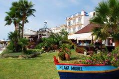 Giardini della barra della spiaggia, Torremolinos Immagini Stock