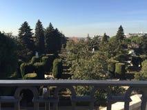 Giardini di Sabatini, reali un palazzo, Madrid, Spagna fotografia stock libera da diritti