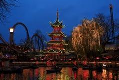 Giardini di Tivoli a Copenhaghen, Danimarca Immagini Stock Libere da Diritti