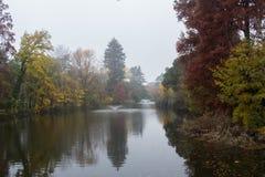 Giardini Margherita Park in a foggy day. Bologna, Emilia Romagna , Italy. Royalty Free Stock Images