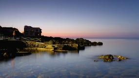 Giardini Naxos beach. Blue hour in Giardini Naxos Stock Photo