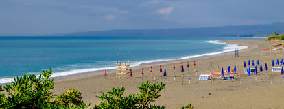 Giardini Naxos plaża Ionian morze Zdjęcia Stock