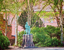 Giardini reali delle biblioteche, Copenhaghen: statua di Søren Kierkegaard Fotografia Stock Libera da Diritti