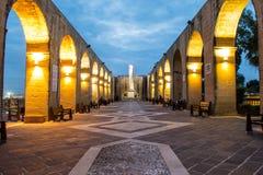 Giardini superiori di Barrakka di notte, La Valletta Immagine Stock