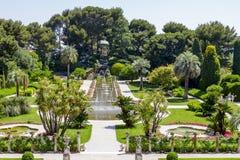 Giardini verdi di Villa Ephrussi de Rothschild Fotografie Stock Libere da Diritti