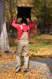 Giardiniere che lavora durante il tempo di autunno Fotografia Stock