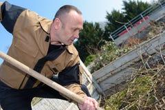 Giardiniere che utilizza pala nel camion posteriore Fotografia Stock