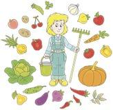 Giardiniere con frutta e le verdure royalty illustrazione gratis