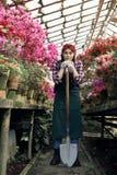 Giardiniere della ragazza in grembiule e guanti con una grande pala in serra, esaminante macchina fotografica fotografia stock