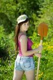 Giardiniere femminile con la forcella Fotografia Stock