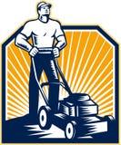 Giardiniere Mowing Lawn Mower retro Fotografia Stock Libera da Diritti