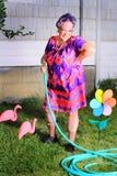 Giardiniere sciocco della nonna fotografia stock
