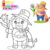 Giardiniere sveglio dell'orsacchiotto, con un fiore in sua mano, libro da colorare illustrazione di stock