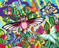Giardino astratto Fondo con differenti siluette di fauna, dei fiori e degli alberi Fotografia Stock