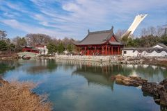 Giardino cinese del giardino botanico di Montreal fotografia stock