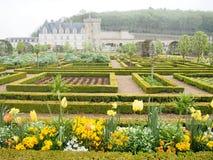 Giardino convenzionale del castello di Villandry nel Loire Valley della Francia Fotografia Stock