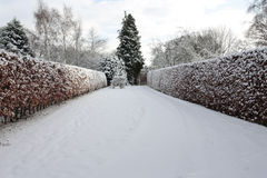 Giardino coperto in neve profonda Fotografia Stock
