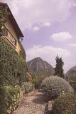 Giardino del cortile in un villaggio toscano con il tono d'annata di colore fotografia stock libera da diritti