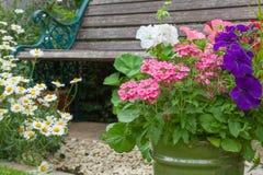 Giardino del cottage con il banco e contenitori in pieno dei fiori Fotografie Stock