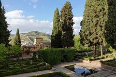 Giardino del Partal a Alhambra a Granada, Andalusia fotografie stock libere da diritti