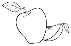 Giardino delizioso - insieme di una mela con due foglie e una fetta Immagini Stock Libere da Diritti