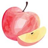 Giardino delizioso - mela rossa e la sua fetta con patte poligonale Immagini Stock