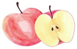 Giardino delizioso - mela rossa e la sua metà con il picchiettio poligonale Immagine Stock