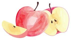 Giardino delizioso - mela rossa e la sue fetta e metà con il polygo Fotografie Stock Libere da Diritti