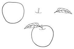 Giardino delizioso - mela rotonda con una foglia Fotografia Stock
