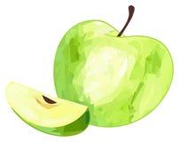 Giardino delizioso - mela verde e la sua fetta con il picchiettio poligonale Fotografia Stock