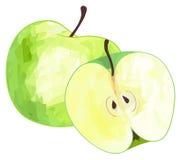 Giardino delizioso - mela verde e la sua metà con patt poligonale Immagini Stock Libere da Diritti