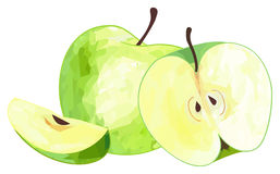 Giardino delizioso - mela verde e la sue fetta e metà con poli Immagine Stock