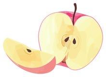 Giardino delizioso - metà della mela rossa e della sua fetta con il poligono Fotografie Stock